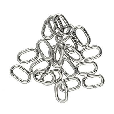 Bindering, oval, 10 Stück, 8x5x1,5mm, Edelstahl, silberfarben