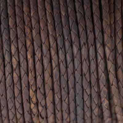 Lederband rund geflochten, 100cm, 3mm, LILA meliert