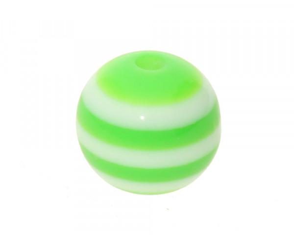 Perle,10x9mm, innen 1,8mm, grün-weiss, Acryl