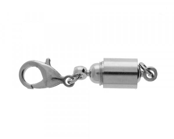 Magnetverschluss mit Karabiner, Öse 2,5mm, 42x8mm, Metall, silberfarben