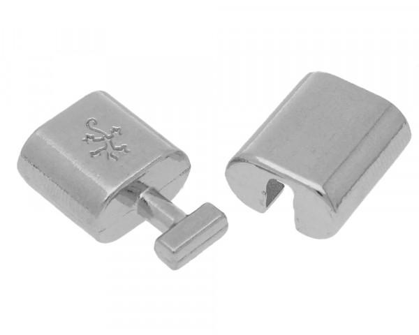 Armbandhaken-Verschluss, Ø 11x6mm, 32x14mm, Metall, platinfarben