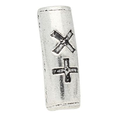 Stäbchen mit Verzierung, innen 3,5mm, 20x7mm, silberfarben, Metall