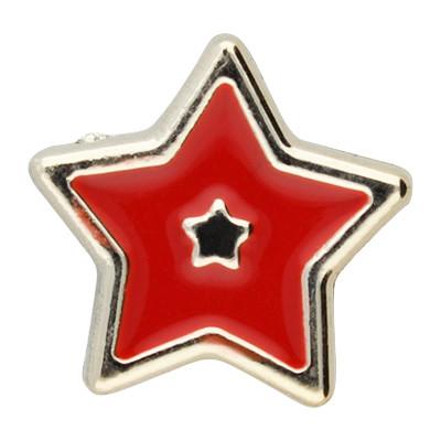 Großlochperle, Stern, innen 5mm, 18x8mm, roségoldfarben-rot, Acryl