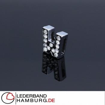 Slidercharm, Buchstabe W, 12x13x4, innen 8x2mm, silberfarben, Metall