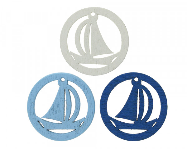 Anhänger rund mit Boot ( 3 Stück, je 1x weiss,hellblau,blau) 24.5x2mm, Loch 1.5mm, Holz
