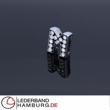 Slidercharm, Buchstabe M, 12x13x4, innen 8x2mm, silberfarben, Metall