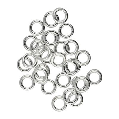Ring, rund, 10 Stück, 6mm, innen 4mm, Metall, silberfarben