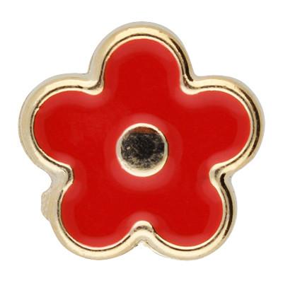 Großlochperle, Blume, innen 5mm, 17x7,5mm, roségoldfarben-rot, Acryl