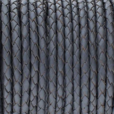 Lederband rund geflochten, 100cm, 4mm, STEINGRAU