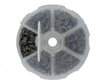Box mit verschiedenen Binderingen, Ø 4mm, 5mm, 6mm, 7mm, 8mm & 10mm, Metall, schwarz