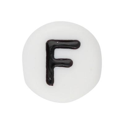 Acrylbuchstabe F (10 Stück), innen 1mm, 7x4mm, schwarz-weiß