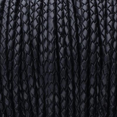Premium Lederband rund geflochten, 100cm, 5mm, SCHWARZ