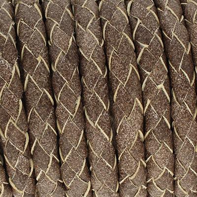 Lederband rund geflochten, 100cm, 6mm, BRAUN meliert
