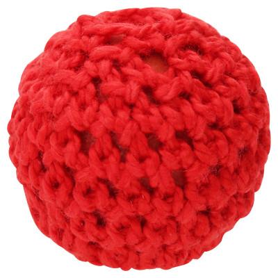 Perle, innen 2mm, Ø 21mm, rot, Wolle umstrikt
