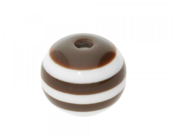 Perle,10x9mm, innen 1,8mm, braun-weiss, Acryl