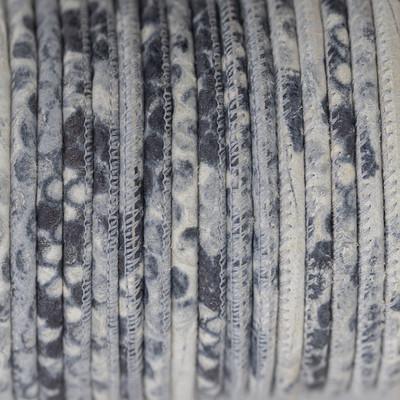 Nappaleder rund gesäumt, 100cm, 4mm, SAND Schlangenlederprägung