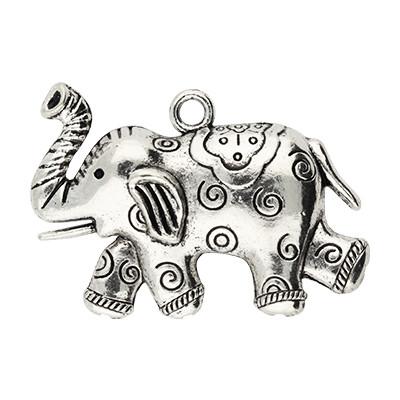 Anhänger, Elefant, 60x37mm, antik-silberfarben, Metall