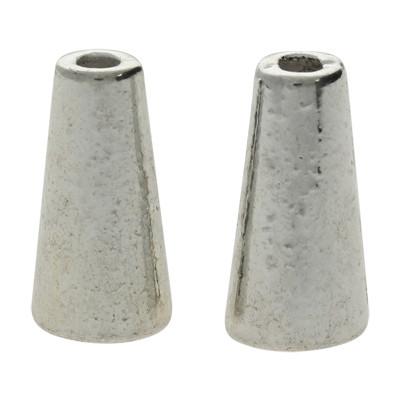 Zierkappe (2 Stück), 15x7mm, innen 5mm, Metall, silberfarben