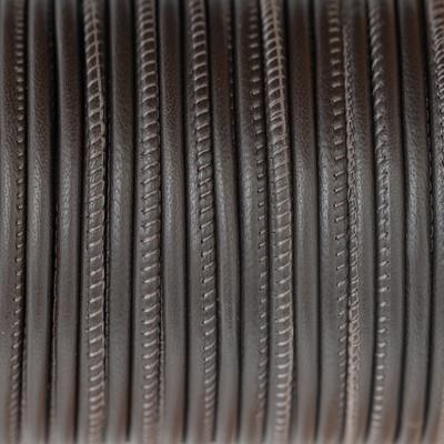 Nappaleder rund gesäumt, 100cm, 4mm, DUNKELBRAUN