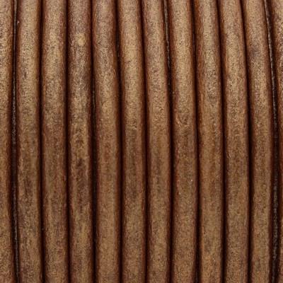 Rundriemen, Lederschnur, 100cm, 3mm, METALLIC KUPFER