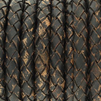 Lederband rund geflochten, 100cm, 5mm, SCHWARZBRAUN meliert