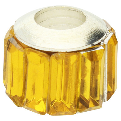 Großlochperle, 12x10mm, Loch 5mm, Acryl und Metall, Gelb
