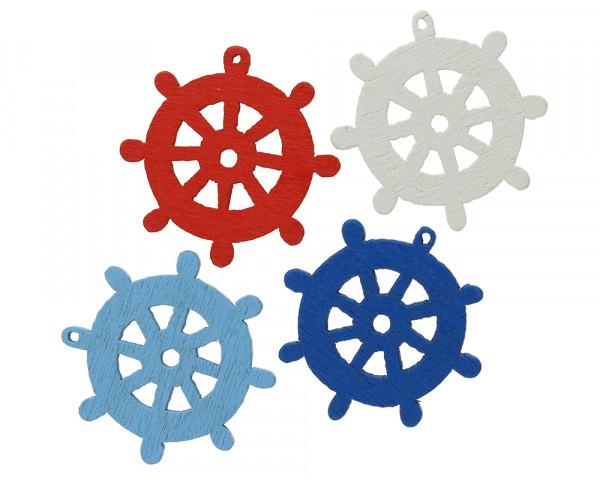 Anhänger Steuerrad (4 Stück, je 1x weiss,hellblau,blau, rot) 25x25x2mm, Loch 1mm, Holz