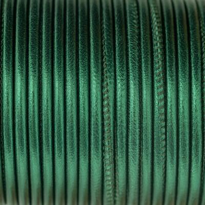 Nappaleder rund gesäumt, 100cm, 4mm, METALLIC SMARAGDGRÜN