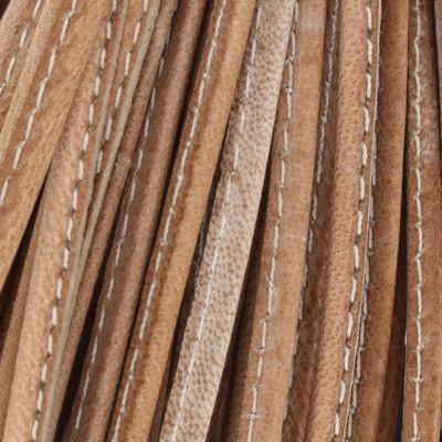 Nappaleder oval gesäumt, 100cm, 4 x 2mm, GRAU-TAUPE meliert