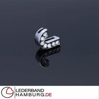 Slidercharm, Buchstabe J, 12x13x4, innen 8x2mm, silberfarben, Metall