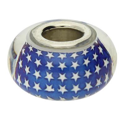 Glas-Großlochperle, blau mit weissen Sternen, innen 5mm,14,5x8,5mm, Metall