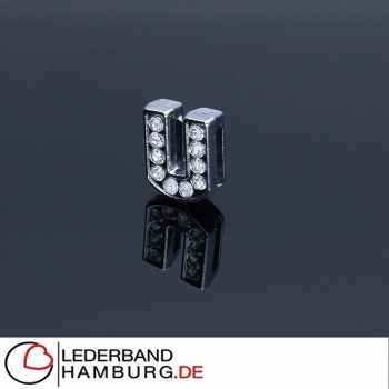 Slidercharm, Buchstabe U, 12x13x4, innen 8x2mm, silberfarben, Metall