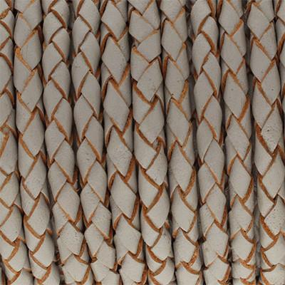 Lederband rund geflochten, 100cm, 4mm, HELLGRAU mit Naturkanten