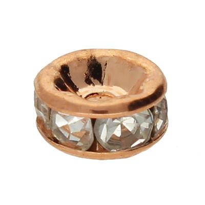 Straßperle, innen 1mm, 6x3mm, kristall, roségoldfarben, Metall