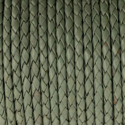 Lederband rund geflochten, 100cm, 3mm, RESEDAGRÜN