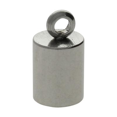 Endkappe mit Öse, 13x6mm, Loch-Ø 5,0mm, Edelstahl, stahlfarben