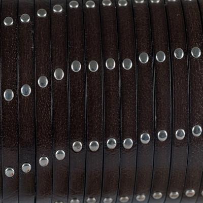 Flachriemen Rindsleder, 100cm, 5mm, BRAUN mit Nieten