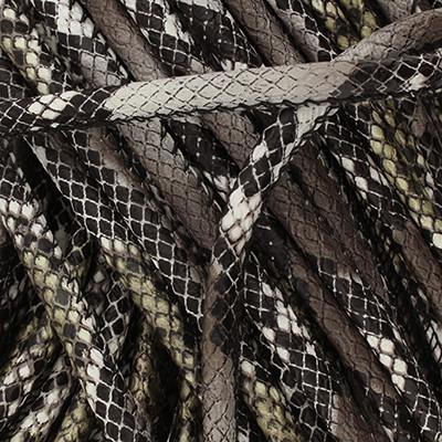 Kunstleder rund gesäumt (100cm), 4,00mm breit - GRAU-SCHWARZ Schlangenprägung
