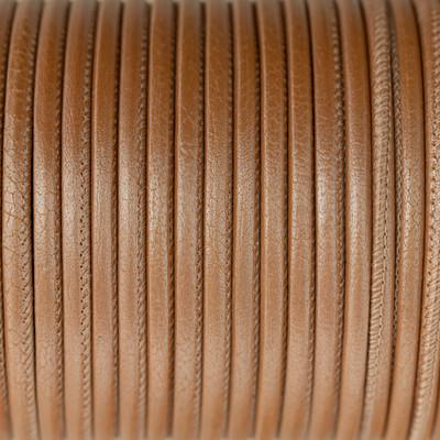 Nappaleder rund gesäumt, 100cm, 4mm, METALLIC KUPFER matt