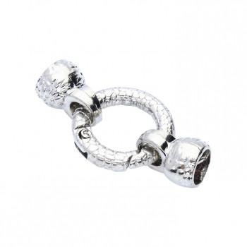 Armbandhakenverschluss mit Ringverschluss und Endkappen, innen 7mm, 36x20mm, silberfarben, Metall