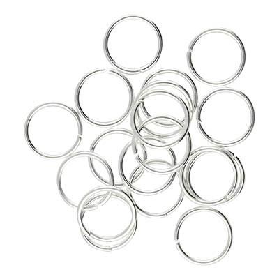 Bindering, rund, 10 Stück, 10mm, innen 8mm, Metall, silberfarben