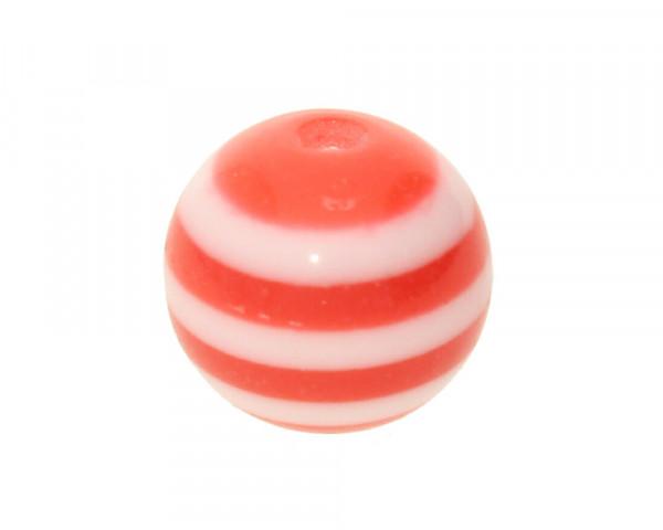 Perle,10x9mm, innen 1,8mm, rot-weiss, Acryl