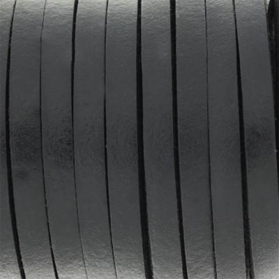 Flachriemen Rindsleder, 100cm, 5x3,5mm, SCHWARZ