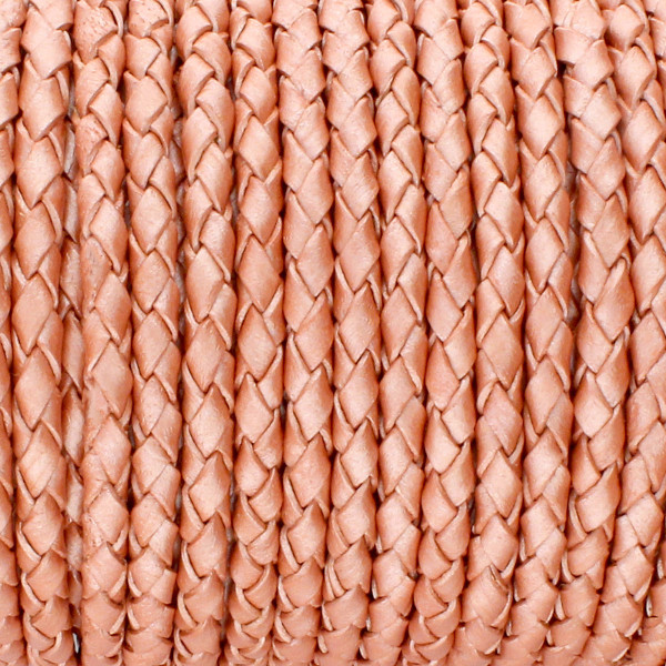 Lederband rund geflochten, 100cm, 5mm, METALLIC ROSENHOLZ