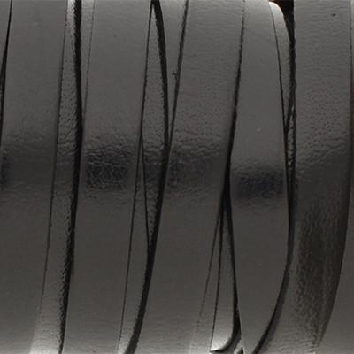 Flachriemen, Rindsleder, 100cm, ca. 5x1,5mm, SCHWARZ