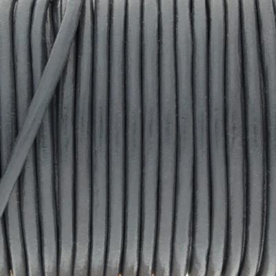 Rundriemen, Lederschnur, 100cm, 3mm, METALLIC GRAU