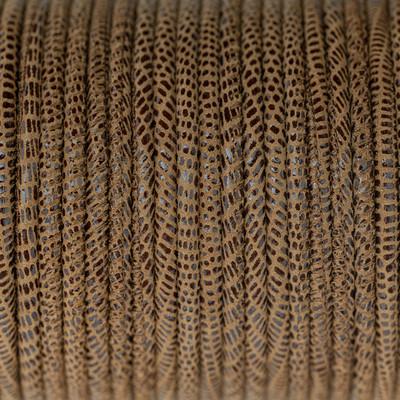 Nappaleder rund gesäumt, 100cm, 4mm, BRAUN Echsenprägung