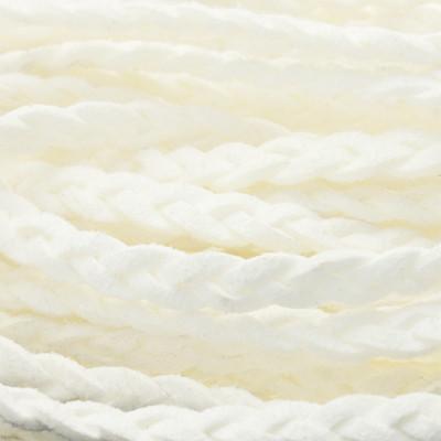 Flachriemen, Veloursleder, geflochten, 6x2mm, Weiss
