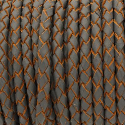 Lederband rund geflochten, 100cm, 3mm, DUNKELGRAU mit Naturkanten