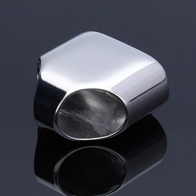 Schmuckkappe, 15,5x15x9mm, innen 14,5x7,5mm, Öse-Ø 5,8mm, Edelstahl, stahlfarben